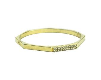 Octagon Bracelet Brass with Rhinestones - Clasp Bangle 1940s