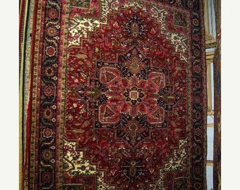 CLEARANCE 1990s Hand-Knotted, Heriz Style, India Rug, Room-Sized 9x12 (1117)