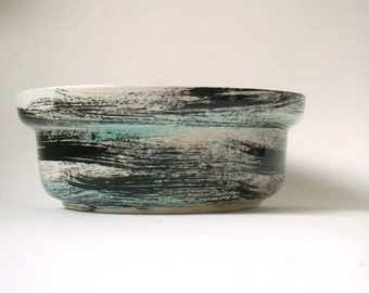 vintage bowl, vintage ceramics, made in CA pottery, vintage pottery, brushstrokes pattern, black, cream and aqua bowl