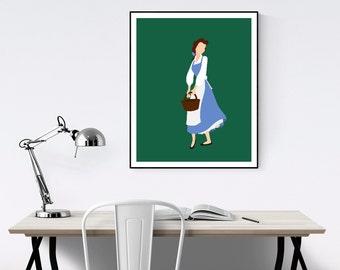 Belle Blue Dress Minimalist Poster