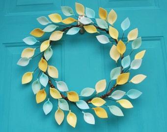 Aqua, Mint and Yellow Summer Wreath with Felt Leaves - Modern Colorful Felt Leaf Wreath