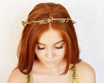Gold bridal crown, Bridal headpiece, Rose gold crown, Gold halo, Flower girl crown, Gold berry crown, Gold wedding tiara, Toddler crown