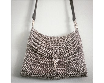 Handmade Chainmail Shoulder Bag in Metallic Silver Color