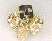 Rhinestone Gold-tone Vintage Mask Brooch