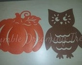 SALE Save 50% Pumpkin or Owl Felt Cutouts to use for crafts Fall Autumn Decorations