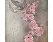 Vintage Digital Rose Paper,Digital Paper, Digital Vintage Scrapbook Paper, Pink Cottage Roses, Shabby Chic Rose Paper. No. 677