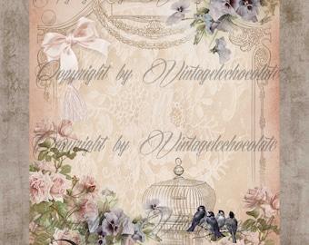 Digital Scrapbook Floral Paper, Digital Paper, Floral Background Paper, Pink Floral Rose Paper, Digital Vintage Scrapbook Supplies. No. 650