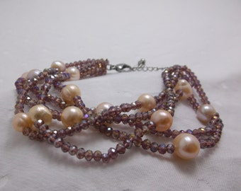 Pink Crytal Beads and Fresh Water Pearls 8-10in Bracelet Free Shipping