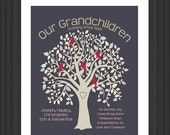 ON SALE Personalized GRANDPARENTS Gift Grandma Grandpa Gift - Our Grandchildren -Christmas Gift - Family Tree Birds- Mauve - Gift Guide