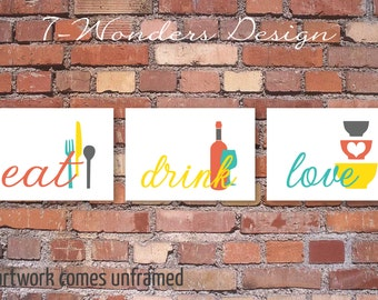Kitchen Wall Art Print Set   Eat Drink Love   Mustard Yellow, Grey,