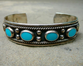Taxco Turquoise and Sterling Silver Vintage Handmade Cuff Inlaid Turquoise and Sterling Jewelry