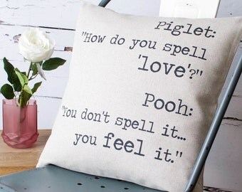 Personalised Typography with Your Words Quote Winnie the Pooh Love Linen Cotton Pillow Cover