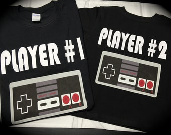 PLAYER 1; PLAYER 2; nintendo; video game shirts; funny; cute; novelty; gift; one piece