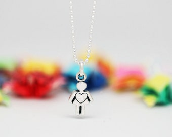 Little Girl charm, sterling silver, kid jewelry (Chain Sold Separately)