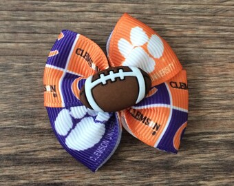 Clemson Dog or Infant Football Bow-Infant Football Bow-Baby Clemson Bow-Hair Bow for Dogs-Dog Football Bow-Clemson Dog Bow-Clemson Baby Bow