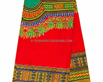 Wholesale Bright red Dashiki fabric/ African Fabric/ Dashiki print/ Dashiki Dress/ African skirt/ Accessories/ Large design/ 6 yards DS05