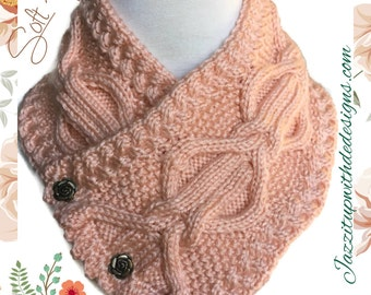 Peach Womens Neckwarmer Cable Twist Handknit Rose Buttons Caron Simply Soft