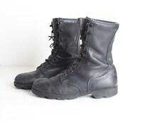 Size 8W Men's Black Leather Combat Boots