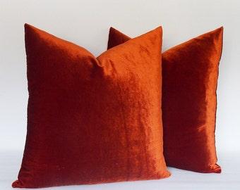 SET OF 2 / Brick Red Velvet Pillow Cases, Decorative pillows, Velvet Brick Cushions Cover, All Sizes 12,14,16,18,20,22,24,26,28,30...