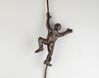 Miniature metal sculpture, Climbing man on the rope, Wall ideas, wall hanging, rock climbing, Sports decor