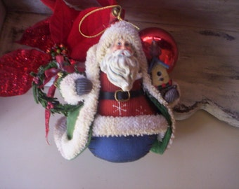 Keepsake ornament/Christmas Santa ornament/Vintage Santa fabric, metal and plastic Ornament/Santa with gland and Christmas ornament/Santa