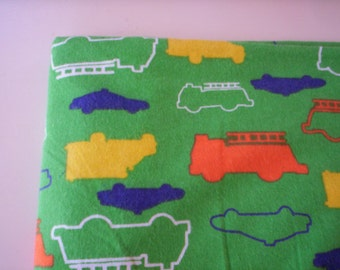 Flannel fabric/Vintage fabric/Doll making fabric/fire truck and police car fabric/green fabric/Children fabric/Doll outfit/craft fabric
