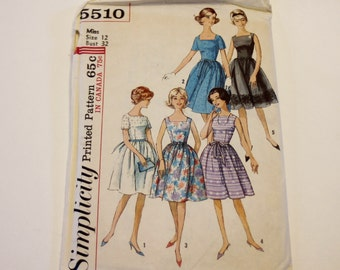 Dress Pattern Simplicity 5510: Misses' One-Piece Dress (1964) UNCUT, Vintage Pattern, Sewing Pattern, Dress, Misses Clothes Pattern
