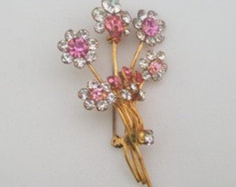 Vintage 1940s Brooch Pin Diamante and Pink Rhinestone Bouquet