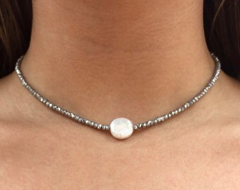 Silver Crystal with Pearl Choker