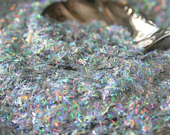 Holographic GLITTER BARS,  SILVER, Nail Art, Craft Glitter, ultra fine