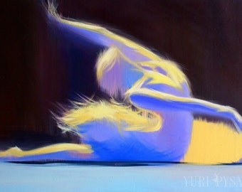 Dance Gifts, Art Print Contemporary GICLEE Print, Abstract Canvas Print, Yellow and Blue Canvas Art of Ballerina