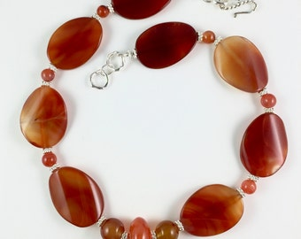 Carnelian Choker Necklace, Orange Necklace, Career Necklace, Chunky Orange Carnelian Necklace, Big Bead Necklace, Handcrafted Necklace