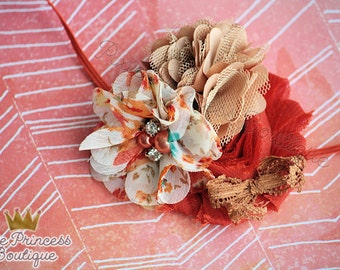 Autumn Crisp - Headband, Baby Headband, Photography Prop, Couture Headband, Hair Clip, Fall Headband, Autumn Headband, Brown and Orange