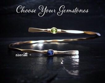Double Gemstone Bypass Bangle / Custom Birthstone Bracelet / Bridesmaid Birthstone Gift / Mother of the Bride Gift / Friendship Bracelet