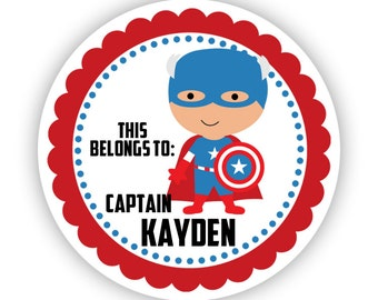 Personalized Name Label Stickers - Red, Blue Polka Dot, Captain Superhero Name Tag Stickers - This Belongs To - Back to School Name Labels