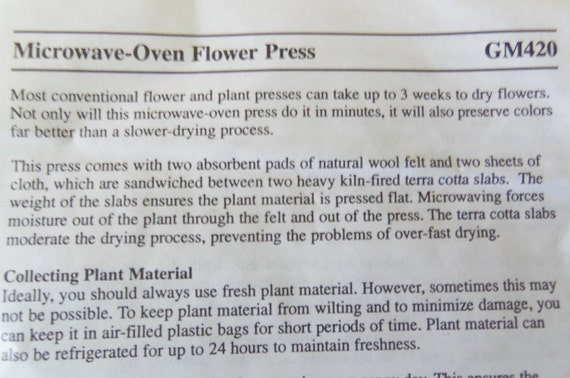 microwave flower press instructions