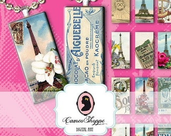 75% OFF SALE DOMINO Paris Glamour Digital Collage for dominos 1x2 inches Digital Download