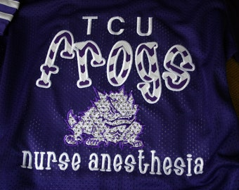 TCU Frogs/Texas Christian University Women's Jersey/Football/Spirit/Basketball Fan Shirt/Bling/Monogrammed