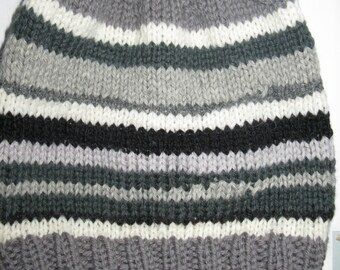 OOAK Knit Wool Slouchy Beanie - grey stripes - medium (toddler - small child)