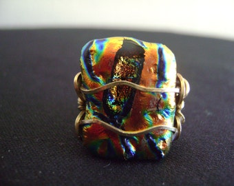Dichroic Glass Wire Wrapped Ring
