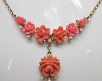 Beautiful Art Deco Victorian Revival Carved Coral Celluloid and Seed Pearl Necklace        1920  Art Deco