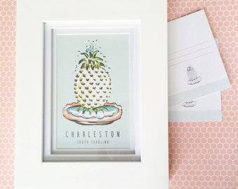 Charleston sc etsy charleston pineapple fountain postcard charleston sc souvenir pineapple fountain artwork negle Images