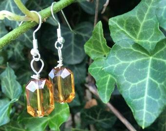 Emerald cut amber bead dangle earrings