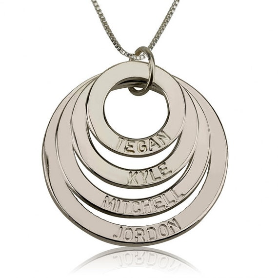 sterling silver engraved 4 rings mother necklace with chain. Black Bedroom Furniture Sets. Home Design Ideas