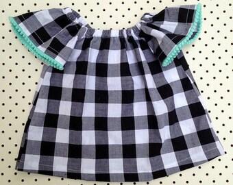 Size 1 - Gingham & Pom Pom Top