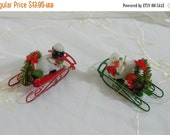 50% OFF SALE Vintage 1980s Christmas Around the World Ornaments, Set of 2 Goose and Lamb on Sleds Original Box