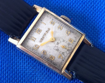 ViNTAGE Westfield Bulova Men's Watch, Harvard Boxing Prize, 10k Gold Plate, 7 Jewels, Swiss Watch, 1946, from the Delovelyness Collection