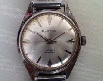 Vintage Men's Watch, Rare Ruxton, Superb Swiss Made, Stylish 1960s Men's Watch, 17 Jewels, Marketed by Friedman's of Savannah, FREE SHIPPING