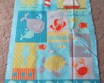 Aqua Blue Sea Life Nautical/Fish/Turtle Fabric by the Panel