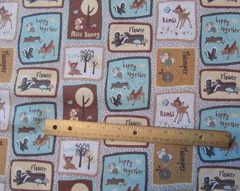Blue Brown Bambi and Friends Blocked Cotton Fabric by the Yard